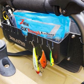 Jig Bucket with Plastics and Lure on Hobie Vantage Chair