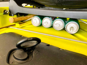 The ultimate under seat beer storage for a Hobie Compass