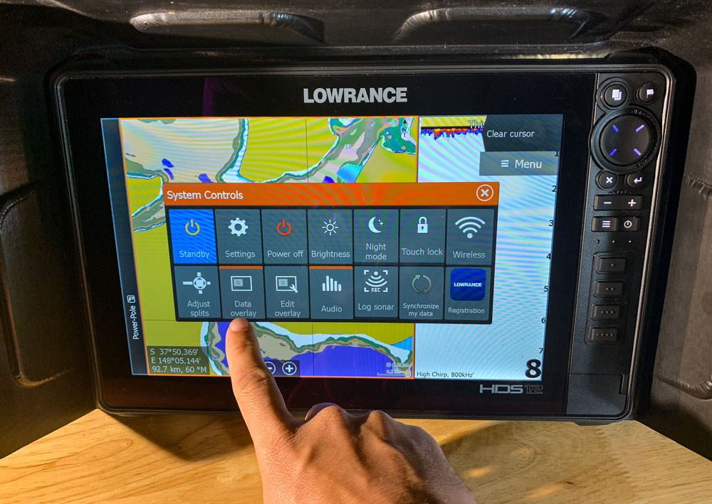 Lowrance Voltage Display Press Data Overlay Button