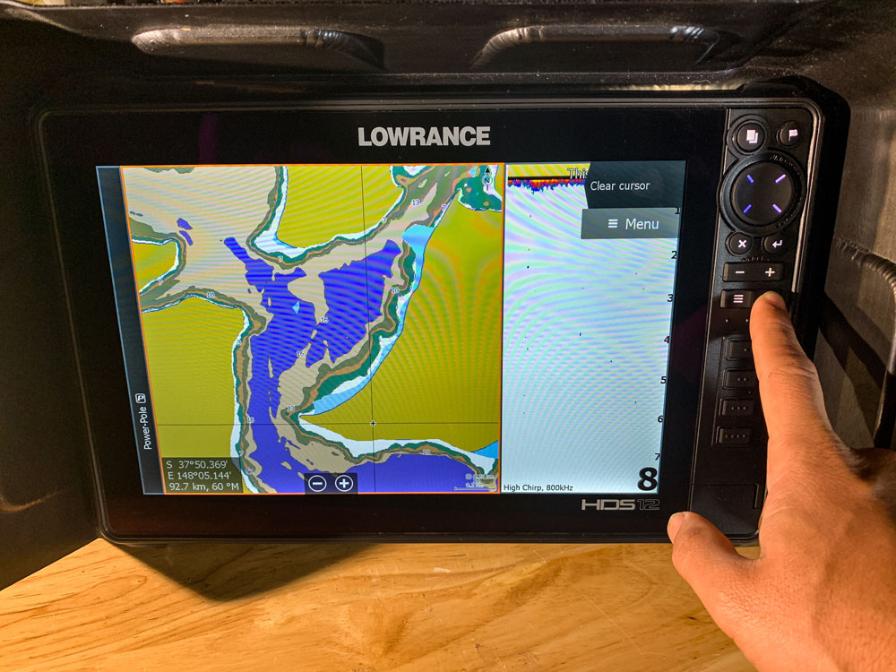 Lowrance Voltage Display Press Power Button