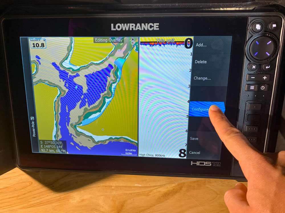 Lowrance Voltage Display Select Configure