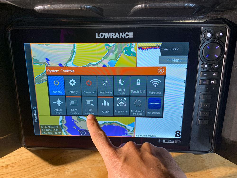 Lowrance Voltage Edit OverLay Button
